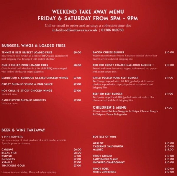 Takeaway menu available for Friday & Saturday evenings plus Sunday lunch
