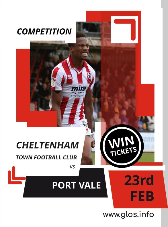 COMPETITION: Win a pair of tickets to see Cheltenham Town's clash against Port Vale on Sat 23rd February