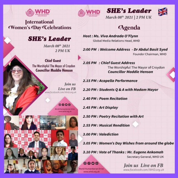 World Humanitarian Drive's SHE's Leader: Online Celebration of Women's Day