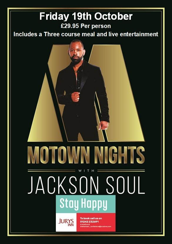 Motown Night with Jackson Soul - Performing the biggest hits from the Motown Era! Jurys Inn, Cheltenham