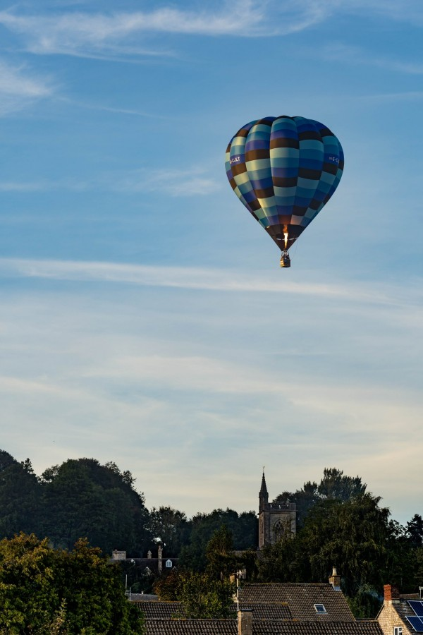 Air balloon over Uley, Gloucestershire