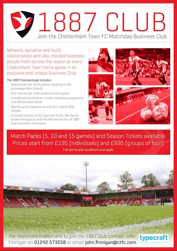 1887 Club - Join the Cheltenham Town FC Matchday Business Club