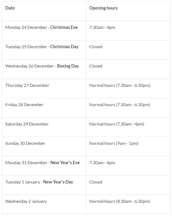 Changes to refuse and recycling collections over Christmas