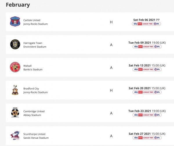 ctfc-february-fixtures