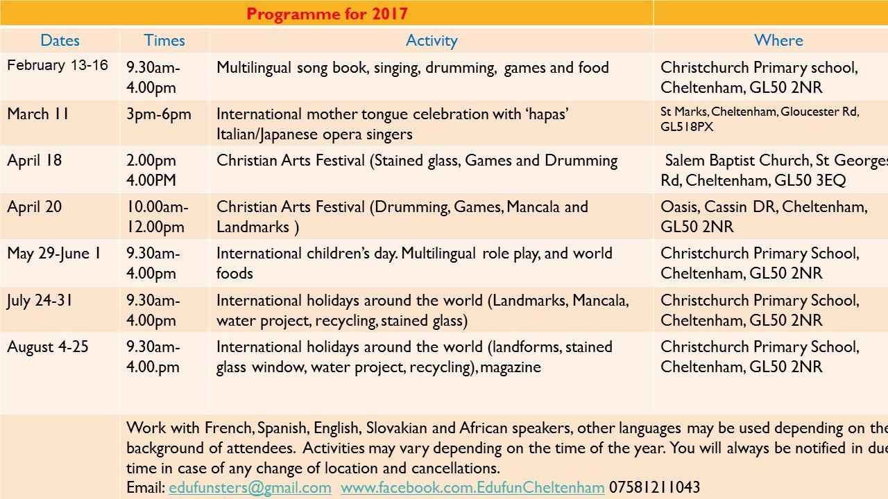 glos.info edufun 2017 schedule