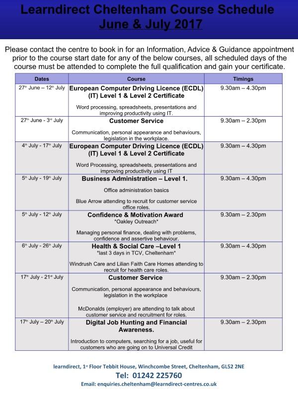 learndirect Cheltenham June July Course Schedule