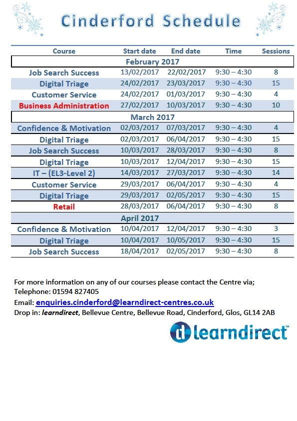 glos.info learndirect cinderford courses february april