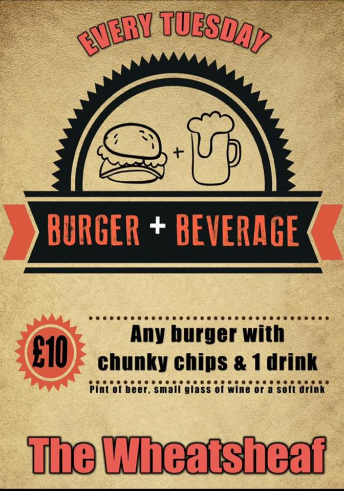 glos.info the wheatsheaf tuesday burger offer poster
