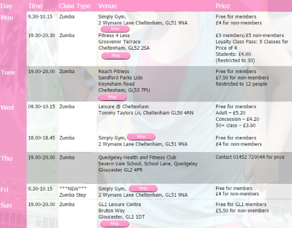 glos.info zumba fitness classes