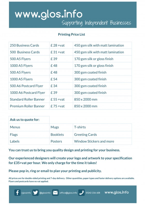 printing pricelist