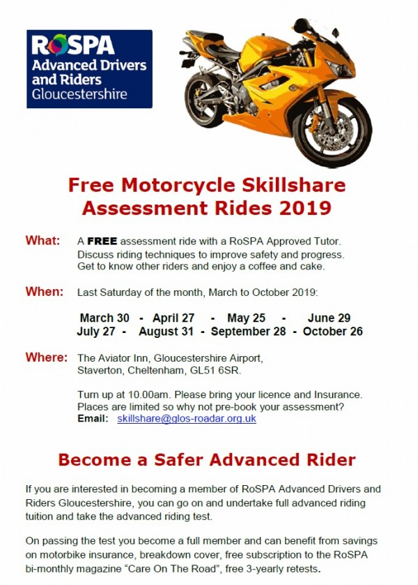Free Motorcycle Skillshare Assessment Rides 2019