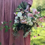 Garden style hand tied bouquets with Honeysuckle and Hilda: Cotswolds