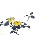 Japanese ink & watercolour painting workshop: Million Chrysanthemums & Bees: Cotswolds
